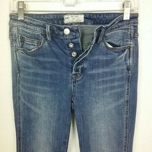 Free People Button Fly Skinny Stretch Jeans 25